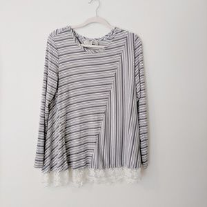 LOGO Knit Top with Embroidered Hem